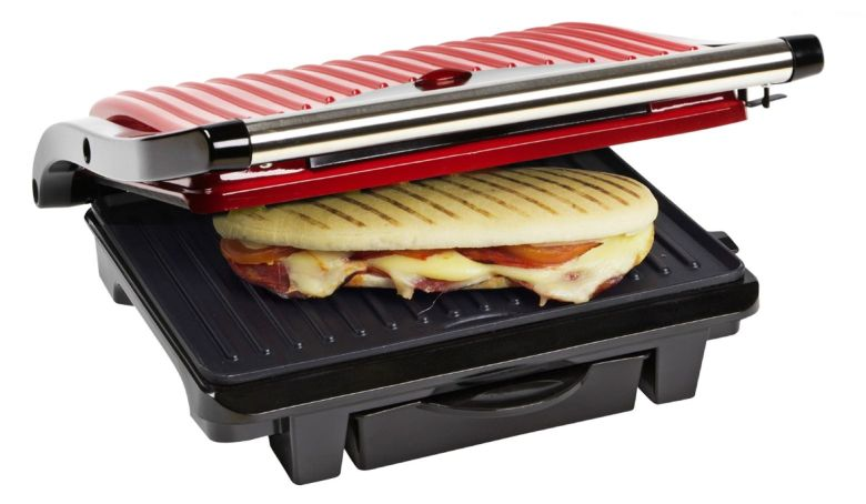 bestron asw113r panini grill kontaktgrill tischgrill sandwichmaker rot kitchen dreams by. Black Bedroom Furniture Sets. Home Design Ideas