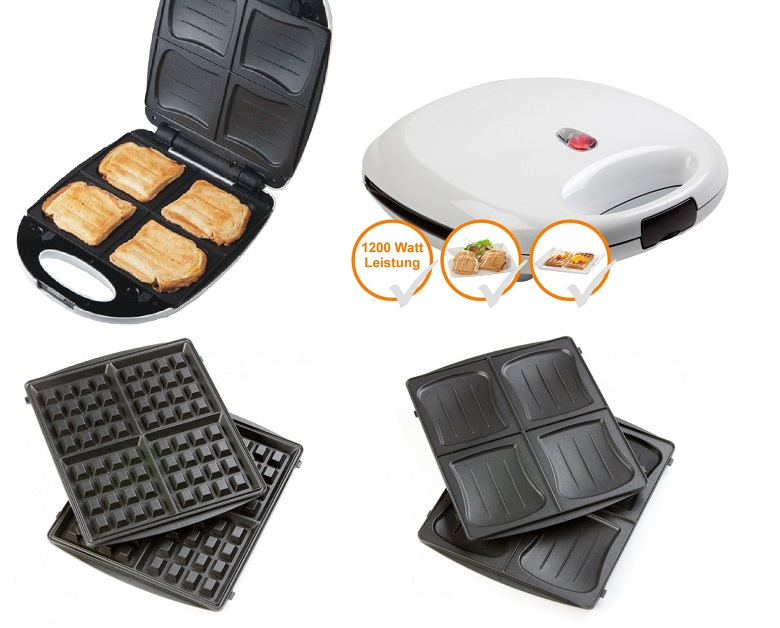 xxl 2in1 sandwichmaker und waffeleisen sandwichtoaster f r 4 ganze sandwiches ebay. Black Bedroom Furniture Sets. Home Design Ideas